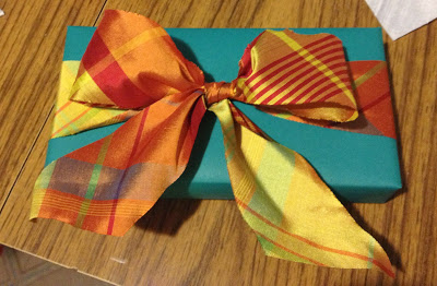 Teal paper with silk plaid ribbon