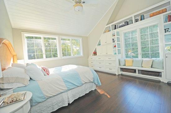 Master bedroom -- bamboo floors, custom built-its
