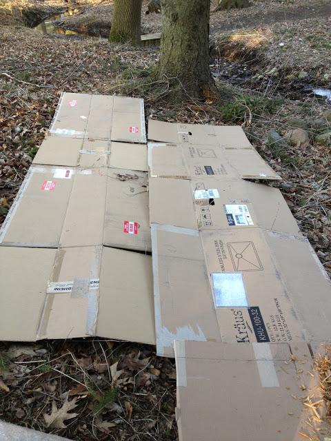 Cardboard weed cover