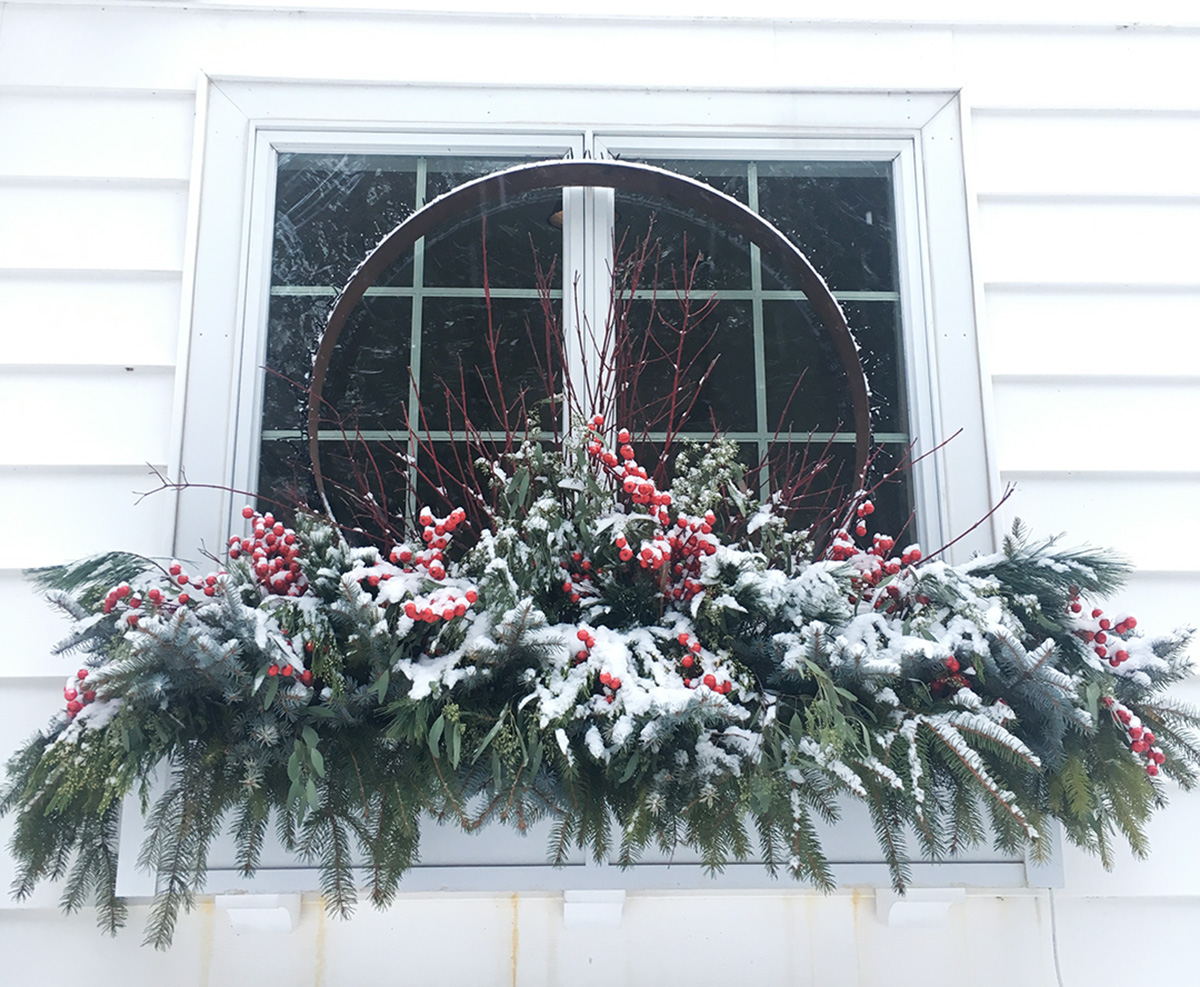snowy christmas container
