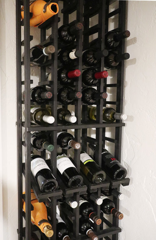 wine rack closeup
