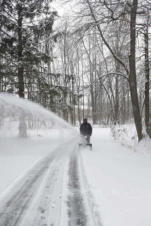 Snowblowing a long driveway