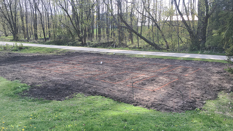 area leveled for a future vegetable garden