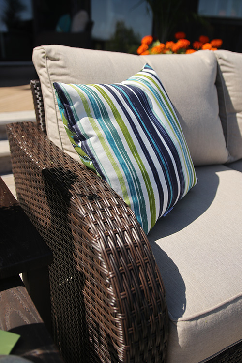 outdoor striped throw pillow