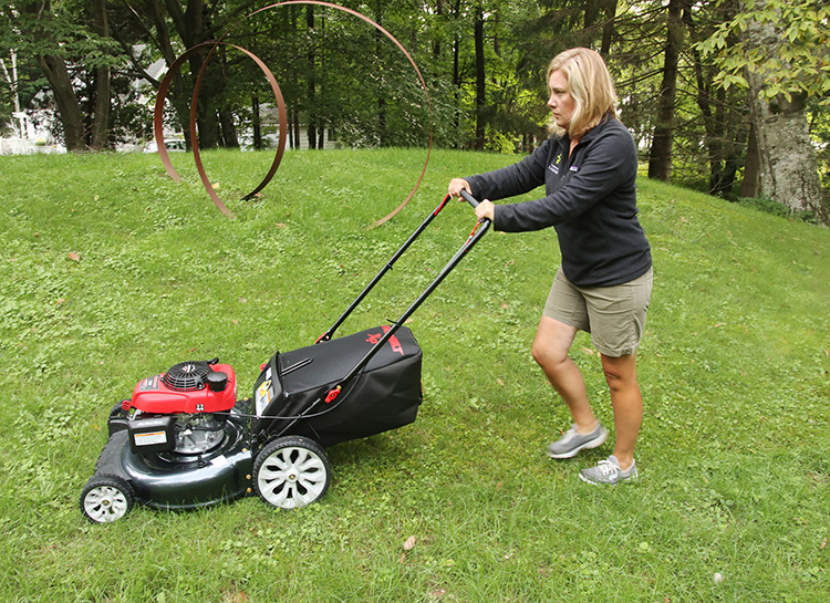 mowing with the TB130 lawn mower