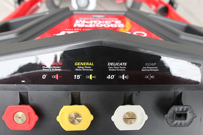 Choose the right tip on your pressure washer.