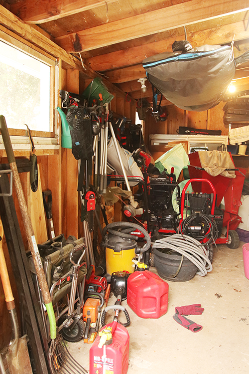 Messy garage before