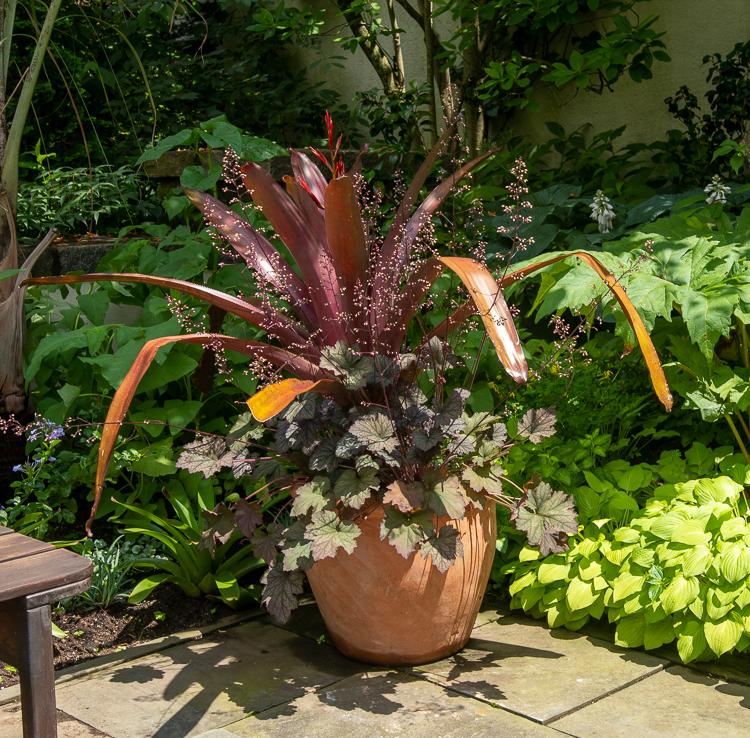 copper colored planter